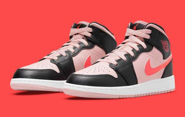 2021 Latest Air Jordan 1 Mid GS Crimson And Pink 554725-604